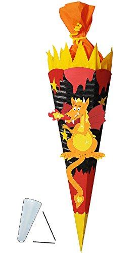 Jungen Drachen (Unbekannt BASTELSET Schultüte -  Drachen  - 85 cm - mit / ohne Kunststoff Spitze - Zuckertüte zum selber Basteln - 6 eckig Jungen Drache Ritter Ritterburg Feuer schwa)