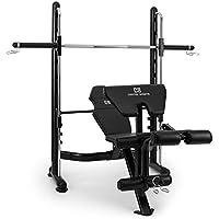 Capital Sports Domic banco de musculación (barras guía, entrenamiento seguro en solitario, barra pesas integrada, 7 niveles, curl brazos piernas, abatible 90°, acero) - negro