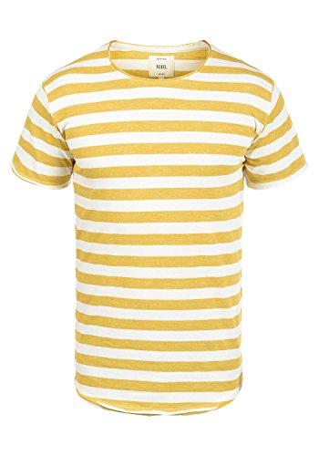 Redefined Rebel Milo Herren T-Shirt Kurzarm Shirt Mit Streifen Und Rundhalsausschnitt 100% Baumwolle, Größe:L, Farbe:Mustard - Henley Baseball Tee