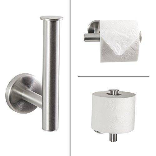 Badserie FIRENZE - Toilettenpapierhalter, Ersatzrollenhalter 2in1 | robuster Edelstahl matt | zur Wandmontage inklusive Schrauben | auch zum Kleben geeignet - separat erhältlich