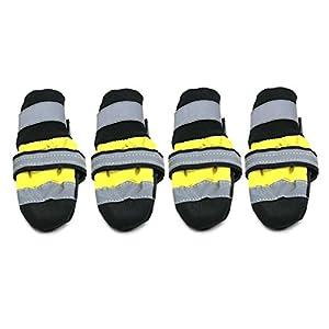 Ndier Chaussures étanches réfléchissantes Chats Chiens Pluie Bottes de Neige épais Chaud Chaussettes Bottillons Produits pour Animaux Domestiques Jaune L