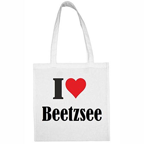 Tasche I Love Beetzsee Größe 38x42 Farbe Weiss Druck Schwarz