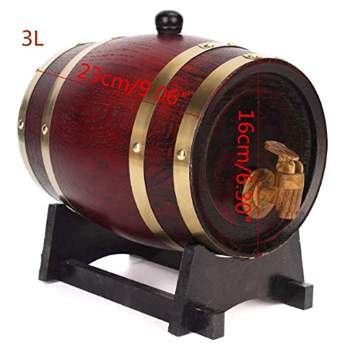 TuToy 1.5L/3Ll Holzholz Rotweinfelden Eile Whisky Rum Brewing Keg Container - 3L