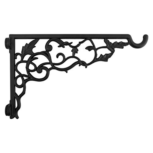 Shelf Hanger Bracket (Lewondr Wall Hanging Plants Bracket, Retro Rose Pattern Outdoor Décor Wrought Iron Hanging Flower Hooks Decorative Plant Wall Hanger with Screws for Garden Balcony - Black)