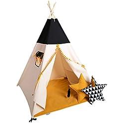 cozydots Tente tipi Indien Set pour Enfant âgé de 0 à 7 Ans, de différentes Couleurs, Hauteur 150 cm, Une idée Parfaite pour des Jeux créatifs pour Un garçon, Tente Aventure Indienne (Honey)