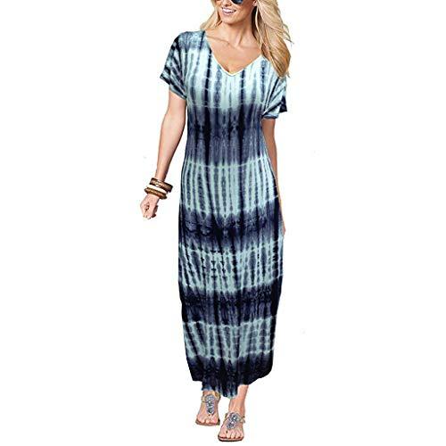 Yvelands Damen lose langes Kleid Mode lässig Krawatte färben Farbverlauf Kurzarm Strandrock ()