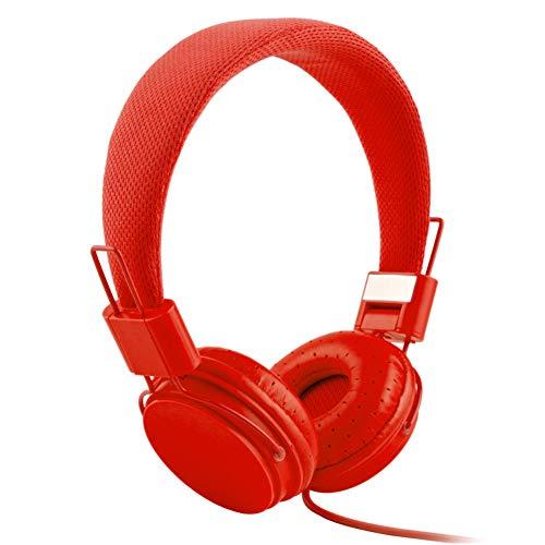 XdremYU Bluetooth Headset,Mikrofon EIN eufor Ohrhorer Funk Dual Rauschunterdrückung Candy Color Faltbarer HiFi-Stereo-Kopfhörer für kabelgebundene Steuerung mit Mikrofon Red