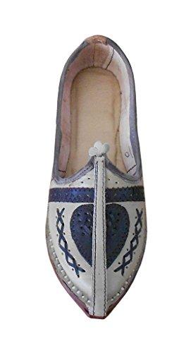 kalra Creations Veste en cuir traditionnel ethnique mojari Crème