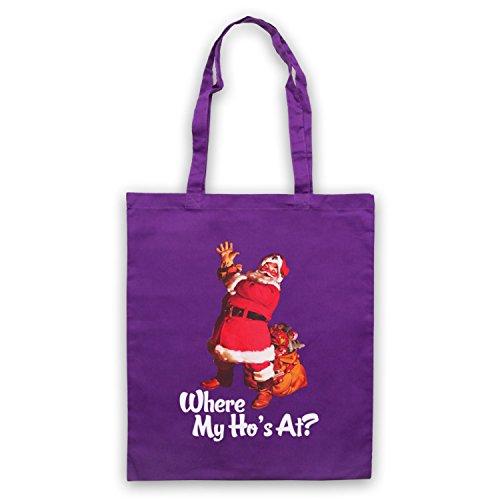 Where My Ho's At Santa Claus Father Christmas Funny Parody Slogan Umhangetaschen Violett