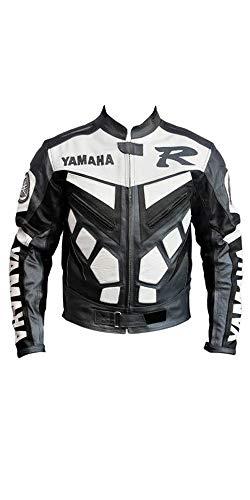 Corso Fashion Yamaha Herren-Motorradjacke aus Leder - Motorrad- und Rennrad- und Motorradausrüstung - maßgefertigt Gr. L, Mehrfarbig
