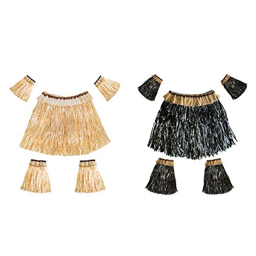 Ruiting Hawaii Grass Skirt Set 2sets für Frauen Männer Hawaii-Rock Luau Kostüm Versorgung Elastic Hula ()
