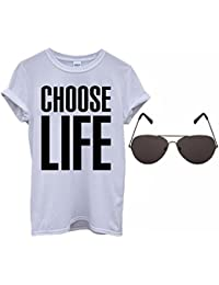 Mens Ladies Choose Life T-Shirt 80s Fancy Dress Costume + Shades