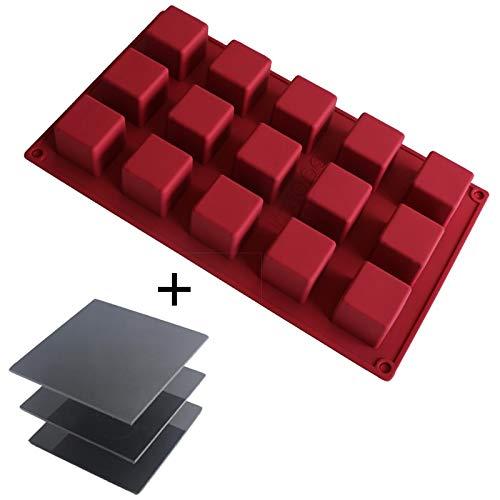 Mousse Kuchen Formen Set 3D Maker Schokolade Form DIY Backwerkzeug mit Halter Display Ständer rot ()