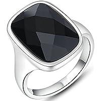 Gnzoe Gioielli, Placcato argento Angle Nero Diamante Fidanzamento Anello di Nozze Donna - 22 Angle Pezzo