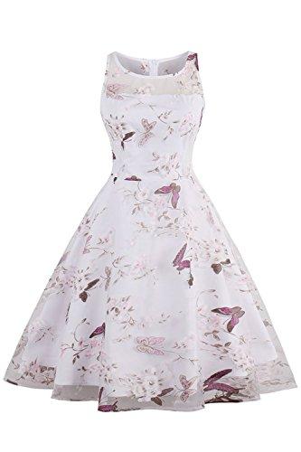 Babyonline Damen Geblümt Kleid Vintage Retro Tüll Rockabillykleider Abendkleider Festkleider...