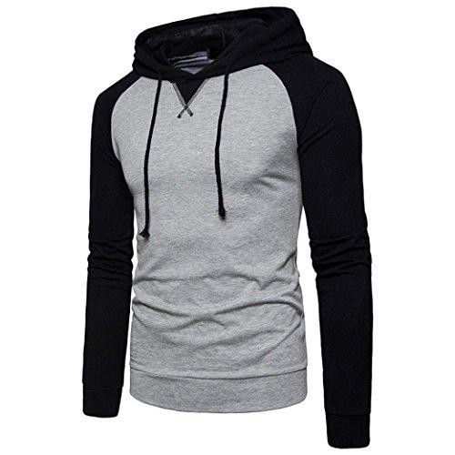 Amlaiworld Uomo Casual patchwork felpa con cappuccio manica lunga T-shirt camicia Grigio