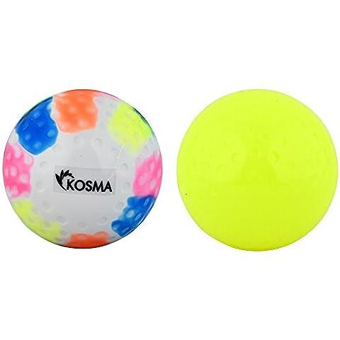 Kosma–Set di 2pc Dimple da Hockey, Sport all' aperto palline da allenamento in PVC, Yellow, Multi, set of 2pc