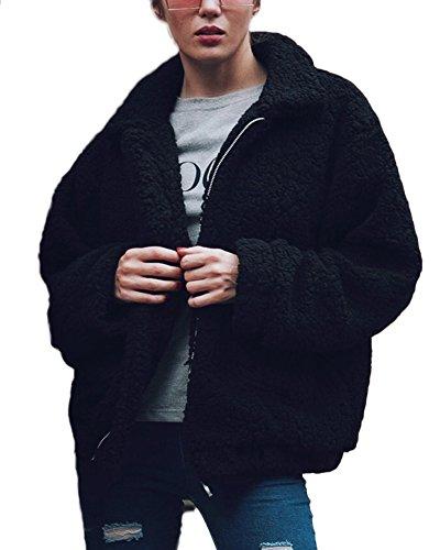 Shallgood Damen Mantel Plüschjacke Winter Winterjacke Steppjacke Warmen Outwear Reißverschluss Lange Ärmel Einfarbig Sexy Parka Schwarz DE 50