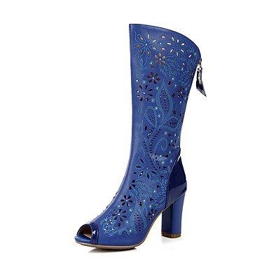 LvYuan Da donna-Sandali-Matrimonio Ufficio e lavoro Serata e festa-Club Shoes-Quadrato-Pelle PU (Poliuretano)-Blu Bianco Tessuto almond almond