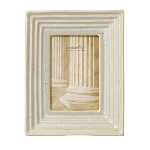 Grasslands Road Feather Gray Stepped Molding Photo Frame, 4 by 6-Inch, Reactive Glaze, Ceramic, Gift Boxed by Grasslands Road