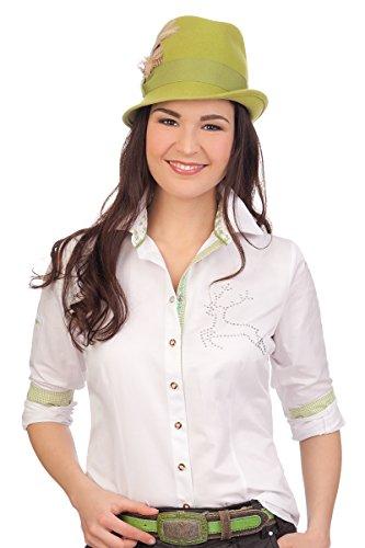 Trachten Bluse, langer Arm - MICHELLE - weiß, schwarz Weiß