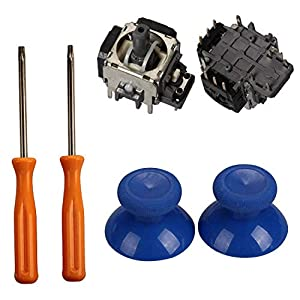 Timorn Ersatzteile 2 x 3D Thumbsticks Griffe + 2 x Analog Joysticks Rocker + T8 / T10 Torx Schraubendreher Werkzeug für…