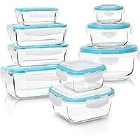 KICHLY- Ensemble de Récipient En Verre boîtes Alimentaires - 18 pièce (9 récipient, 9 couvercle) - étanche, résistant au lave-vaisselle, au micro-ondes et au congélateur - sans BPA, certifié FDA, FSC