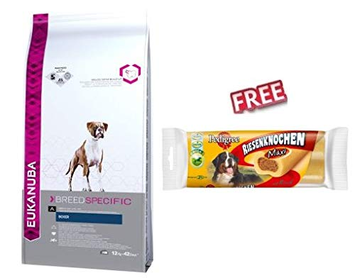 Eukanuba Boxer Adult 2 x 12kg Complete Balance Dry Dog Food Keep Heart Healthy & Support Strength of Immune System FREE Pedigree Jumbone Maxi – Beef