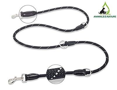 Nature&Animal© Premium Hundeleine reflektierend | 3-fach verstellbar | Länge 2 m | Schwarze Führleine - Laufleine für große und kleine Hunde | Edle Doppelleine ideal für die Nacht und die Dämmerung