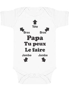 Blanc Version gar/çon - Body B/éb/é Manches Courtes Baby Geek Futur DPS comme Papa Coutures Grises Coton