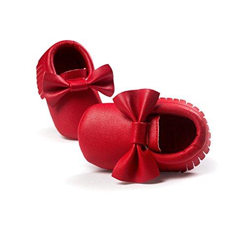 ZOEREA Super weich Leder Anti-Rutsch Lauflernschuhe Krabbelschuhe Babyschuhe Kinderschuhe Krippe Schuhe für Laufanfänger Baby Mädchen Jungen 0-18 Monate Rot