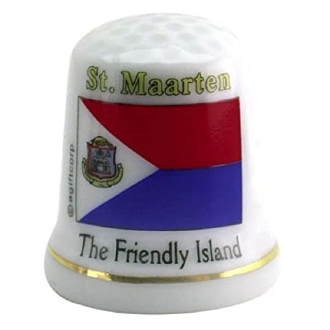 St.Martin Caribbean Flag Pearl Souvenir Collectible Thimble agc by Souvenir Destiny