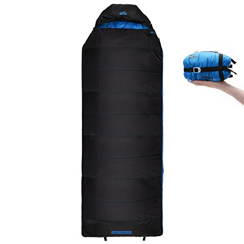 Qeedo Light Hitazo XL Sommer-Schlafsack kleines Packmaß (19 x 17 cm) / Deckenschlafsack extrem klein & leicht (745g) - blau