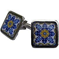 Mixed Up Dolly Stunning Blue and Yellow Floral Flourish Spanish Tile Chrome Cufflinks