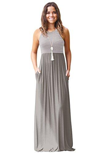 Damen Sommerkleid Kleider Maxikleid Streifen Ärmellos Bodenlanges Lang Kleid High Waist Partykleid...