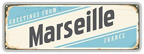 SkyBug Marseille City France Retro Sign Travel Bumper Sticker Vinyl Art Decal for Car Truck Van Window Bike Laptop -
