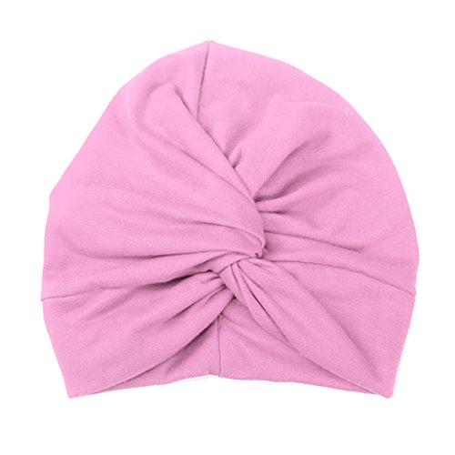 Haorw Baby Mütze Neugeborene Weich Baumwolle Turban Kleinkind Stirnbänder Baby Mädchen Stirnband (rosa)