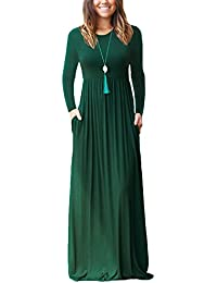 NELIUYA Women Long Sleeve Loose Plain Maxi Dresses Casual Long Dresses with Pockets