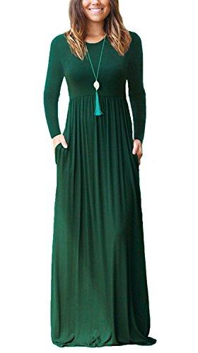 VIISHOW Damen Tunika Swing T-Shirt Kleid Lange Kleid (Dunkelgrün L)