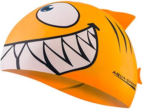 Aquaspeed Shark Kinder Bademütze Hai Badekappe, Modell [A]:Shark/orange 75