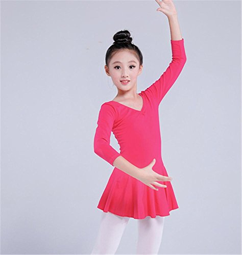 Leotard d'entraînement de ballet pour enfants confortable / manches longues / manches courtes rose b
