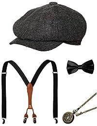 Zivyes Années 1920 Accessoires Hommes Gatsby Gangster Costume Accessoires Ensemble Manhattan Fedora Chapeaux Bretelles Bow Tie Montre De Poche