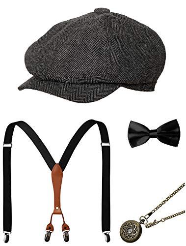 Zivyes 1920s Herren Accessoires Gatsby Gangster Kostüm Zubehör Set Manhattan Fedora Hut Hosenträger Fliege Taschenuhr (2-Grey) (Herren Gangster Kostüm)