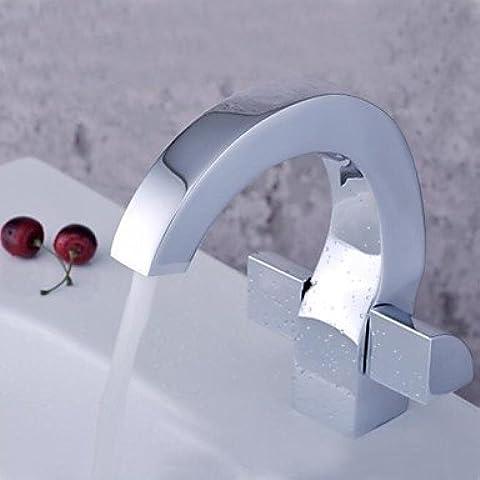 Hanmei disegno speciale finitura cromata doppio manico singolo foro lavabo faucetcopper lavabo rubinetto