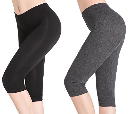 CnlanRow Damen Capri Leggings Kurz Bequem Elastisch Leicht Unterrock Shorts Leggins 3/4