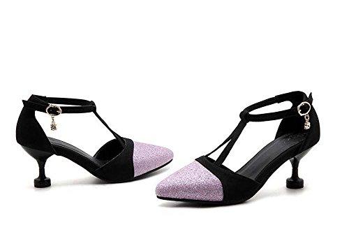 Onfly Donne Punta punta Respirabile Tacchi alti Sandali T-Strap Cinturino alla caviglia Pompa Heel del gattino Scarpe Nozze Partito OL Scarpette da ballo Taglia larga 32-47 Purple