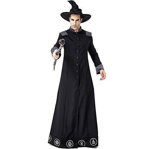Kostüm Magier Männlich - COSOER Robe Magier Cosplay Kostüm Böser Zauberer Crazy Scholar Kleidung Für Halloween Männliche/Weibliche Kleidung,M