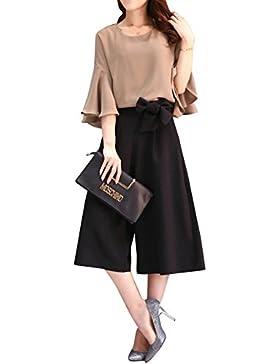 c2deadec693e Donna Pantaloni Larghi Estivi di Vita Alta con Cintura Pantaloni Eleganti +  Chiffon Top Due Pezzi