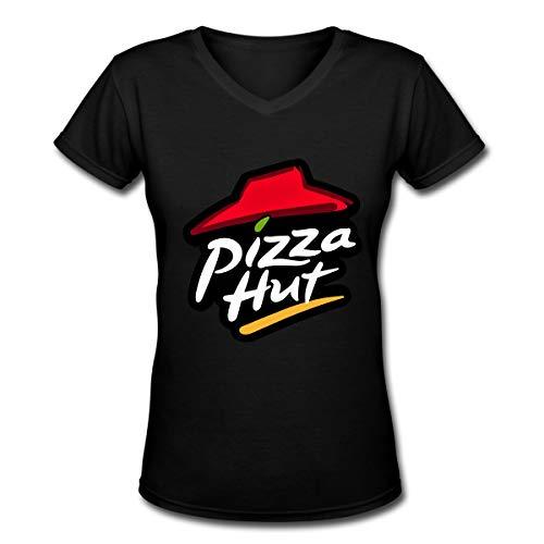 Frauen Sommer T-Shirt Pizza Hut Logo T-Shirt Freizeithemden Für Frauen Große Mädchen Kurzarm V-Ausschnitt Baumwolle Tops Schwarz XXL - Jesus Youth Sweatshirt