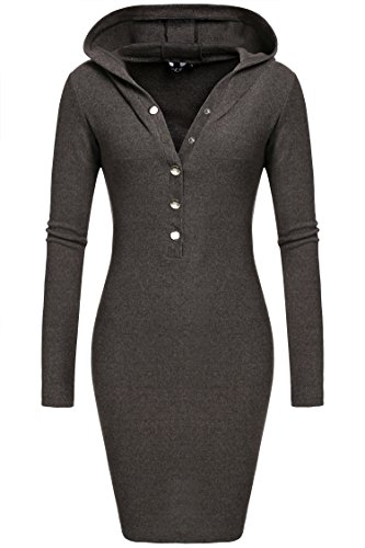 CRAVOG Damen Plus Size Kleid elegant Mit Kapuze dress Grau 6 Größen (S / M / L / XL / XXL / XXXL)